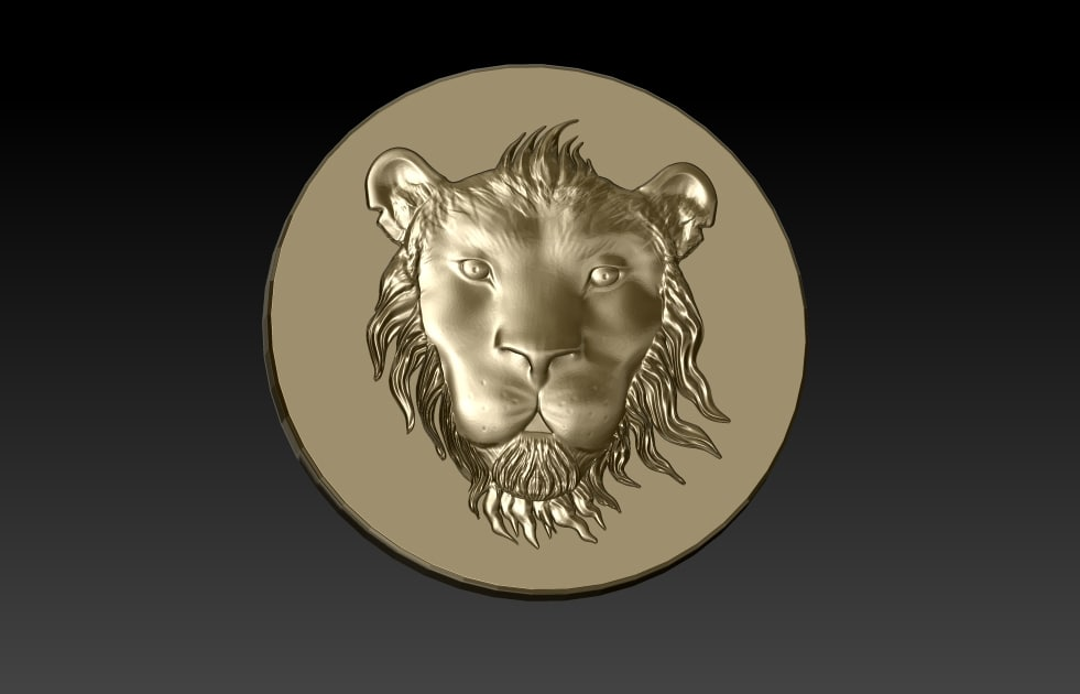 3d tsavo lion head coin model