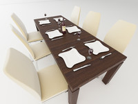 dining table chairs 3d obj