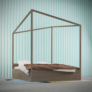 3d model of highly-detailed photorealistic bed