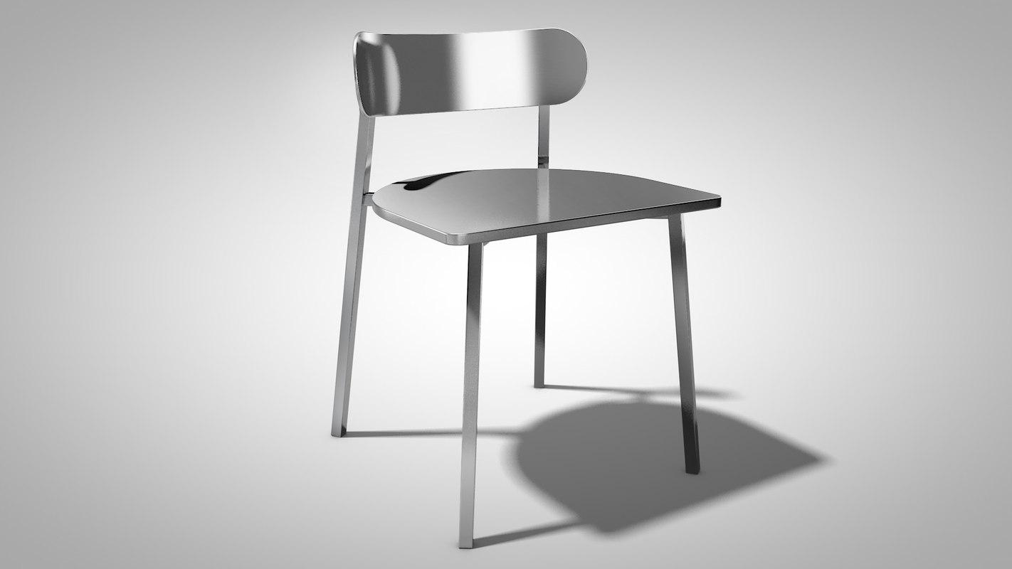 brushed metal chair 3d model