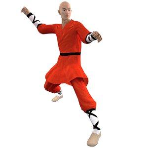3d model rigged shaolin monk