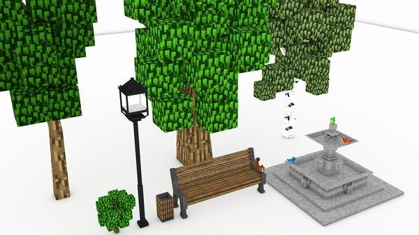 minecraft park 3d c4d