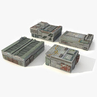 sci fi city buildings 3d model