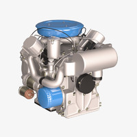 3d model old diesel engine