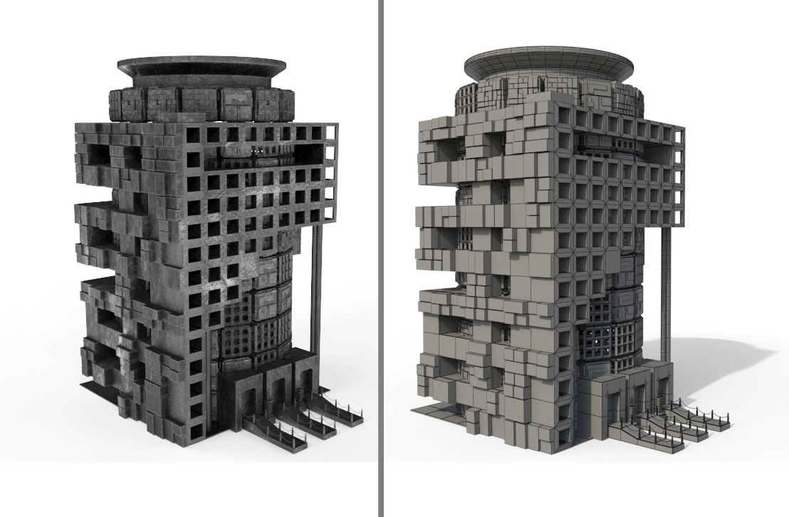 3d sci fi box building model