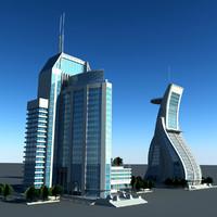 3d model modern building set01