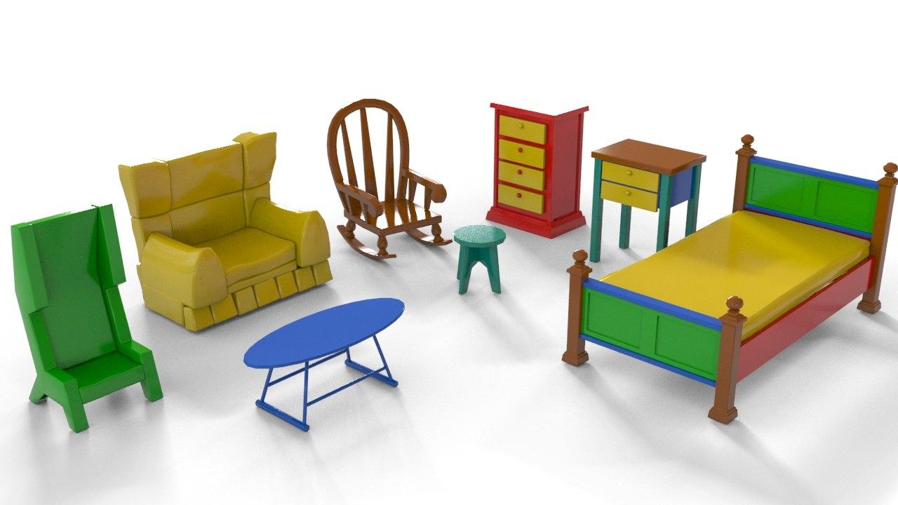 cartoon furniture 3ds