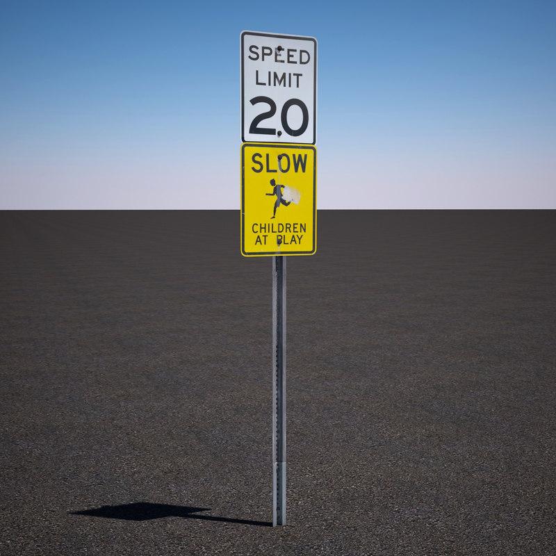 speed limit sign 3d model