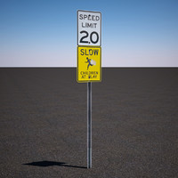 speed limit sign 3d model