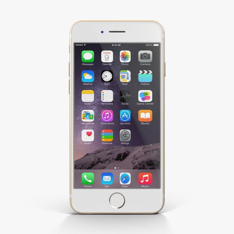 3d apple iphone 6 gold model