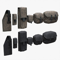 Lowpoly Tactical Pouches Set