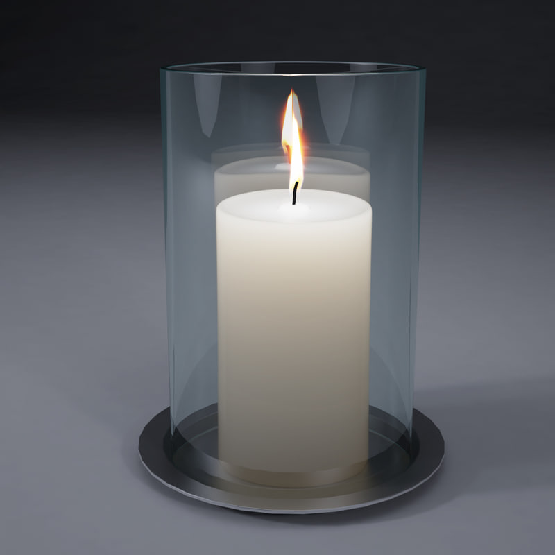 white candle glass jar 3d model