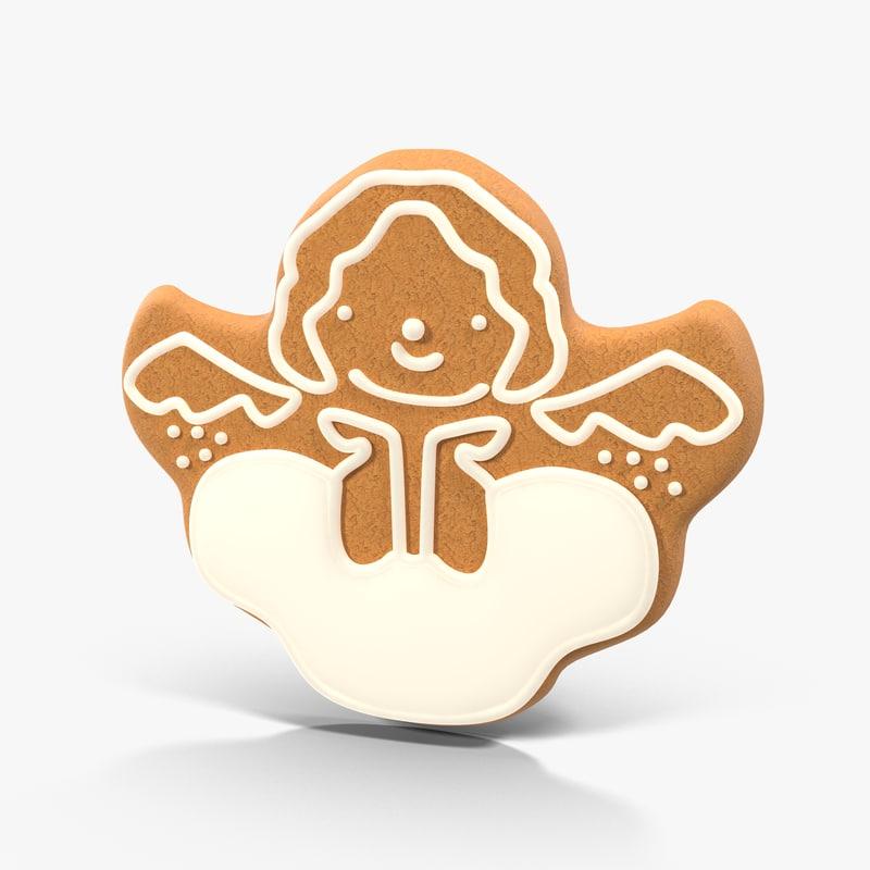 gingerbread cookie angel 02 3d model