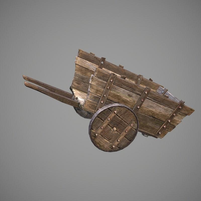 gameready old cart pbr 3d model
