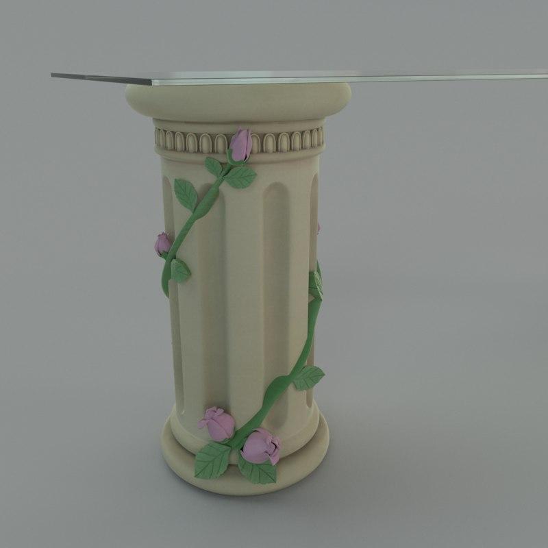 shelf pillar roses obj
