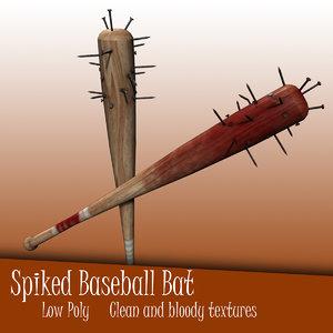 spiked nail bat 3d 3ds