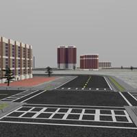3d streets buildings