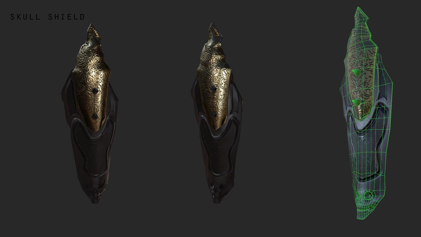 3d skull shield model