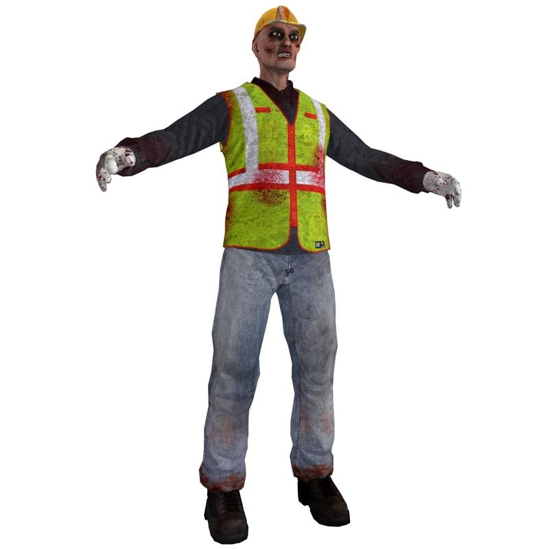 3d worker zombie 3 model