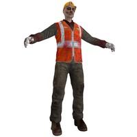 3d worker zombie model