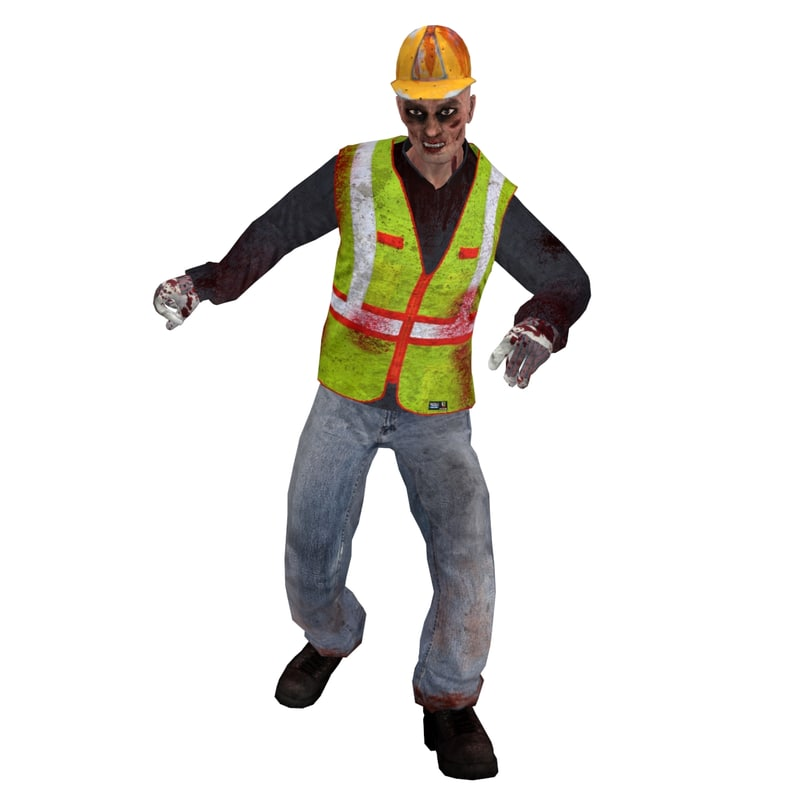 3d model rigged worker zombie 3