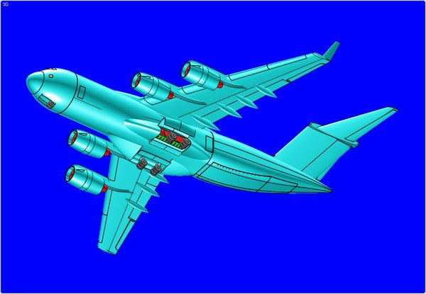 c-17b strategic cargo aircraft 3d model
