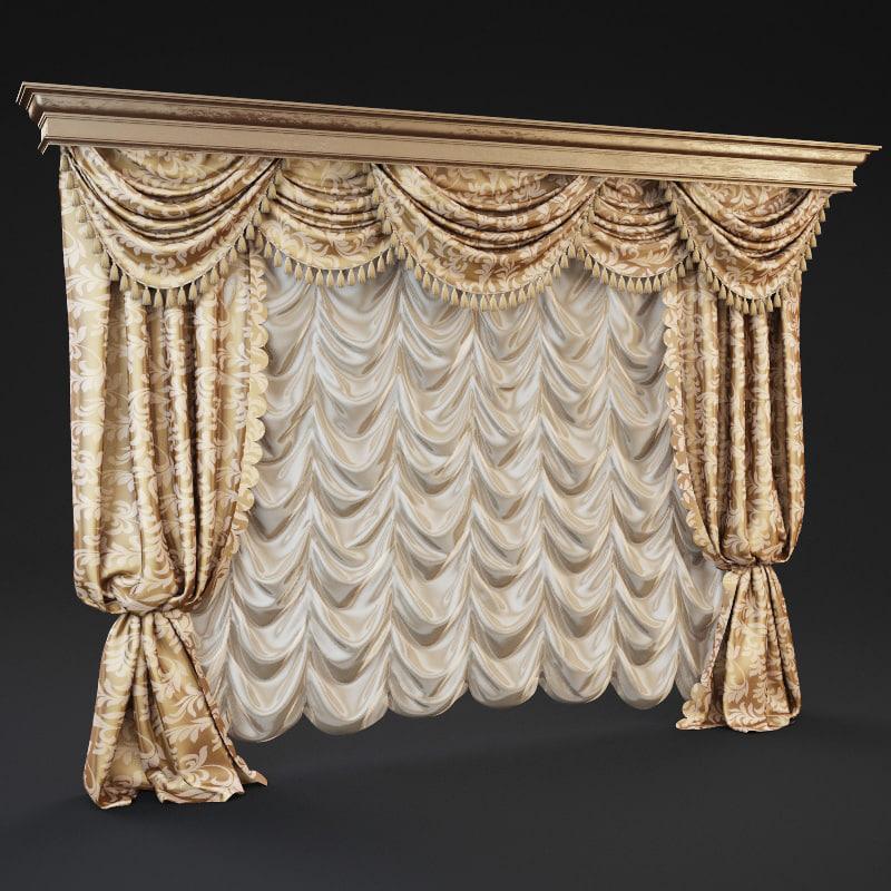 3d model classic curtains