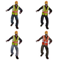 3d 3ds pack rigged worker zombies