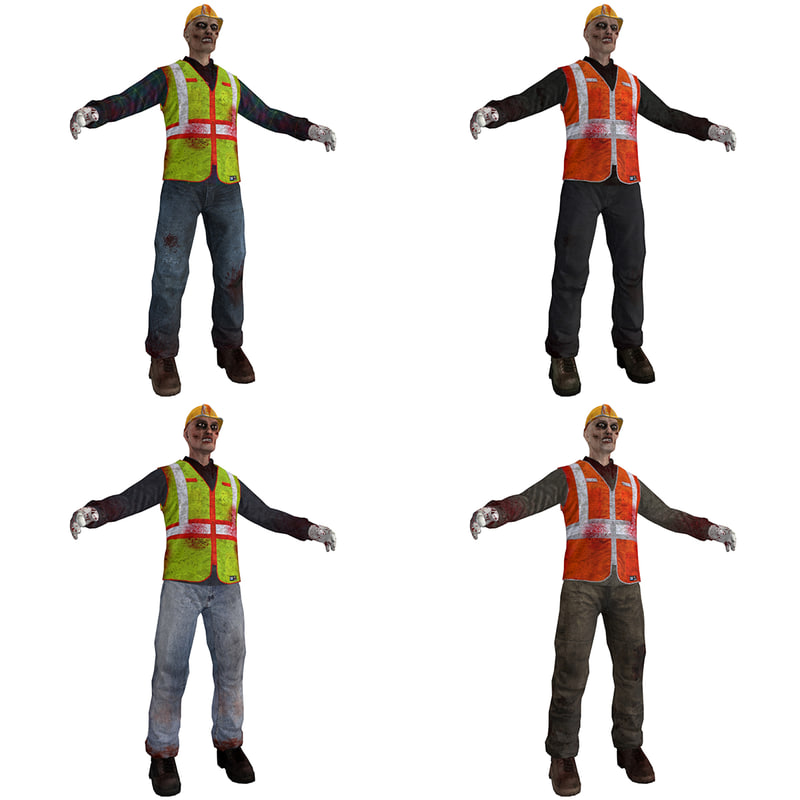 pack worker zombies 3d model