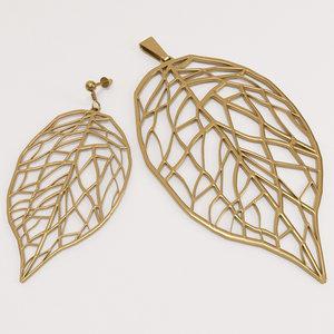 leaf earring pendant 3d 3ds
