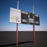 3d baseball scoreboard