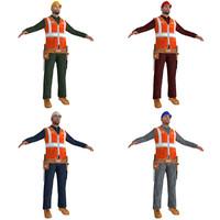 3d pack worker man