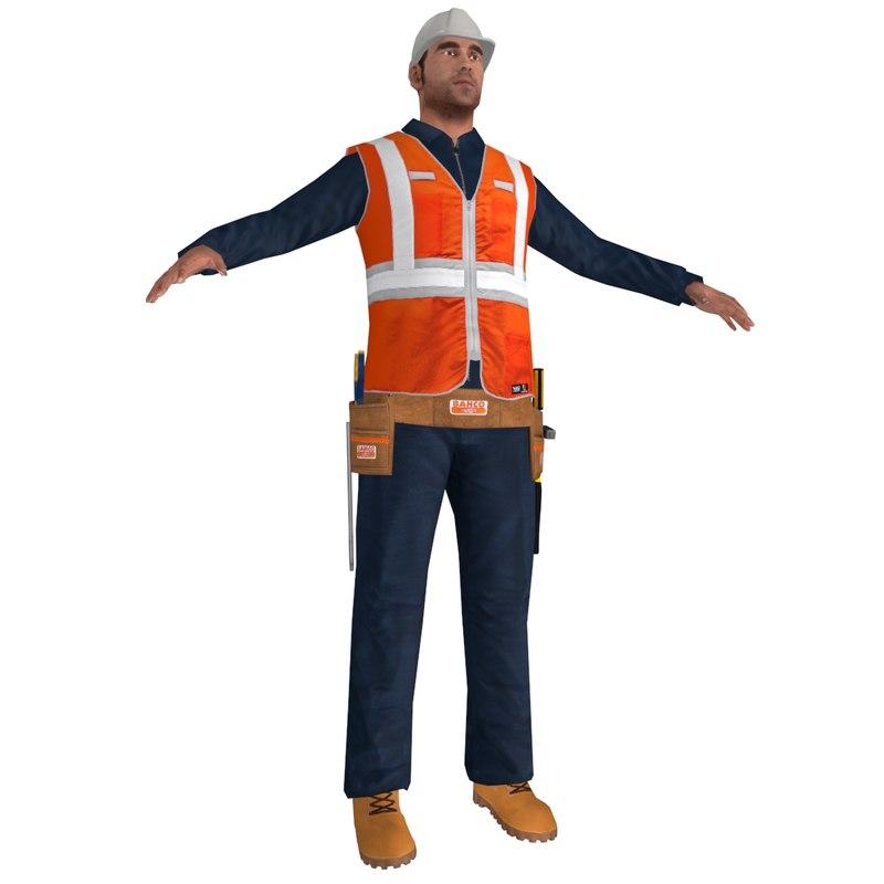 3d model of worker man