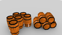 Wooden Barrel low poly