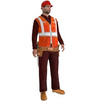 rigged worker biped man 3d model
