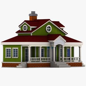 cartoon house toon 3d model