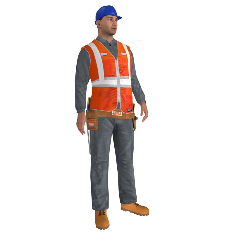rigged worker man 3d model