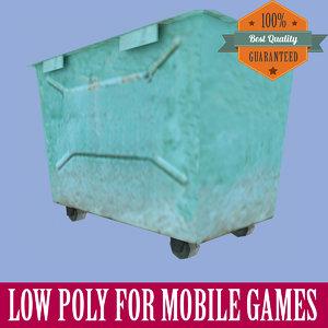 rubbish bin ready mobile 3d max