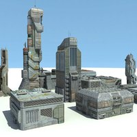 Sci Fi City 11 Buildings