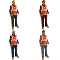 3d model pack rigged worker biped man