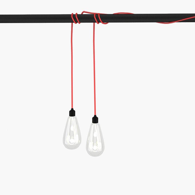 modern pendant bulb light 3d 3ds