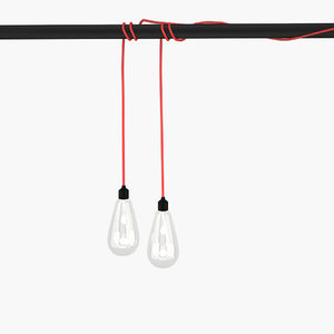 modern pendant bulb light 3d 3ds