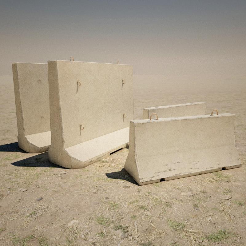 3d model concrete barricades