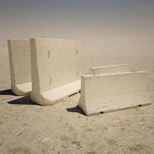 3d model concrete barricades