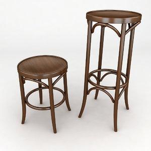 3d stool bent bentwood