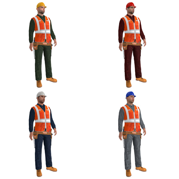 3d pack rigged worker biped man