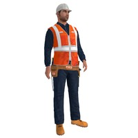 rigged worker biped man 3d max