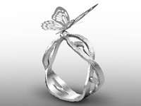 3d butterfly ring
