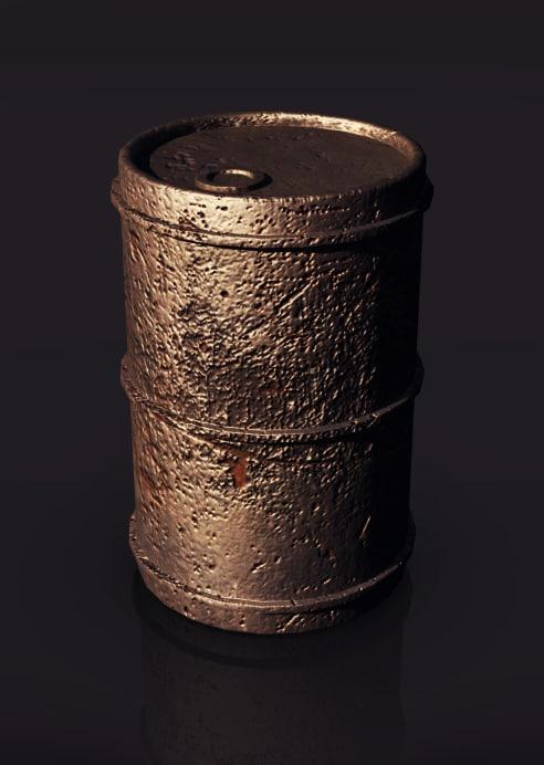 rusted metal oil drum 3d max