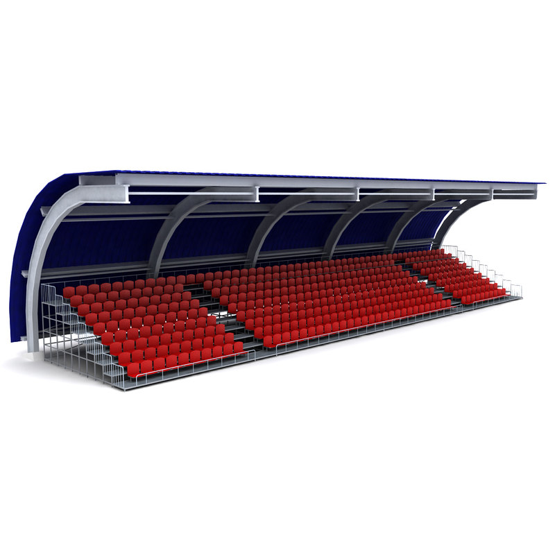 3d model of stadium seating tribune 3